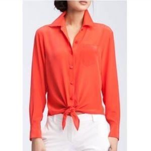 Trina Turk orange silk tie front blouse size S/M